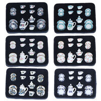 1:12 Miniature 15pcs Porcelain Tea Cup Set Chintz Flower Tableware Kitc zqJCAU