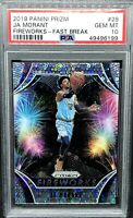 Ja Morant Rookie 2019-20 Prizm Fireworks Fast Break PSA 10 Gem Mint 💎 GRIZZLIES