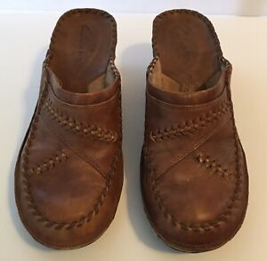Clarks Women's Size 51/2 M Brown Leather Clogs/Mules Shoes