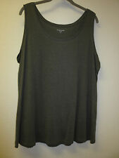 NEW Eileen Fisher Linen Delave Sleeveless Long Tee, Top, Tunic,  Granite, 1X