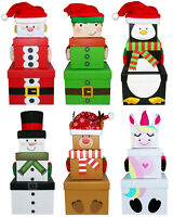 Stackable Nest Gift Present Boxes Christmas Eve Box 3 Pack Stacking Boxes Santa