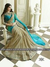 Bollywood Style RAMA Color Georgette Saree With EMBRODRI  Work
