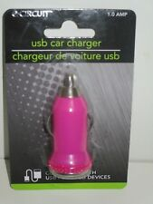 E-Circuit USB Car Charger Adapter w/Plastic Rhinestones 12V 1.0 AMP - Hot Pink