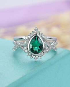 2.50Ct Pear Cut Green Emerald Halo Bridal Engagement Ring 14K White Gold Finish