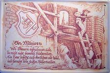 Beruf Maurer Blechschild Metallschild Schild gewölbt Metal Tin Sign 20 x 30 cm