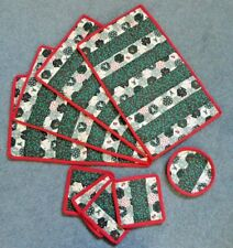 New handmade patchwork Christmas fabric 4 placemat and 4 coaster set + extra mat