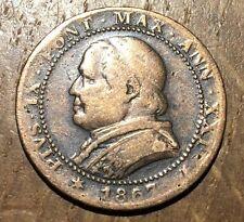 PIECE DE 1 SOLDO 1867 R VATICAN PAPAL STATE 5 CENTESIMI (134)