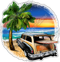 "Surf Surfing Paradise Island Windsurfing Car Bumper Vinyl Sticker Decal 4.6"""