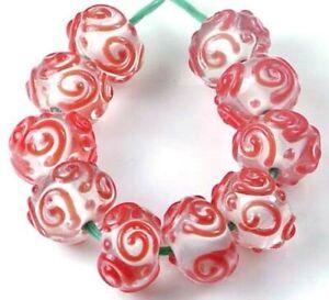 10 LAMPWORK Handmade Glass Red Raised Scroll Rondelle Beads 19x9mm