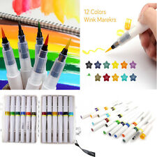 12 Colors Art Marker GLITTER Brush Tip Sparkle Pen Sketch Drawing Painting Set