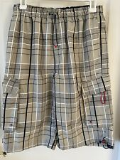 Boy'S Gray Plaid Board Shorts/ Swim Trunks By O.T.B - Size : Large ( 14 - 16 )