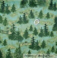BonEful Fabric FQ Cotton Quilt Green Xmas Scenic Forest Tree Harry Potter Winter