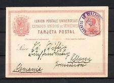 VENEZUELA 0020 POSTAL CARD 1893 Caracas to Germany SEE 2 PHOTOS