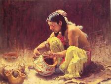 DECORATING POTTERY NON NATIVE AMERICAN INDIAN IMAGE *CANVAS* ART PRINT ~ GICLEE