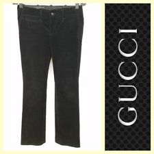 Gucci $795 black velvet flat front/button-fly bootcut pants~38/XS