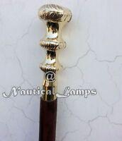 Antique Nautical Victorian Brass Handle Wooden Walking Cane Vintage Stick Brown