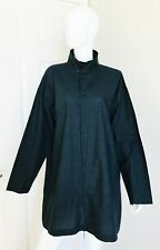 ESKANDAR LONG SHIRT DRESS TUNIC 100% COTTON GRAY GREY MANDARIN COLLAR SZ 2 MINT