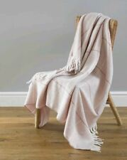Modena Wool Feel Ultra Cosy Shabby Chic Rose Check Fringed Throw 130x170cm