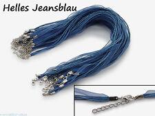 5 x Halskette Organzaband Schleifenband Schmuckband * Farbe: Helles Jeansblau *
