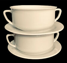 Williams-Sonoma Double Handled Bowls White Set of 2 Cream Soup Bowls Underplates
