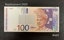 Malaysia - 10th RM100 Replacement ZA029 *rare*   GEF