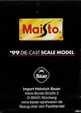 Maisto 1999 DIE CAST Scale model modellini di auto prospetto opuscolo Brochure catalog