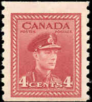 1948 Mint Canada 4c F-VF Scott #281 King George VI War Issue Coil Never Hinged