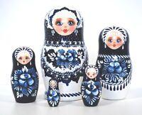 Russian Hand Painted Blue/White Nesting Dolls Set of 5 Matryoshka, Artist signed