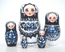 Russian Hand Painted Blue/White Nesting Dolls Set of 5 Matryoshka, Artist signed