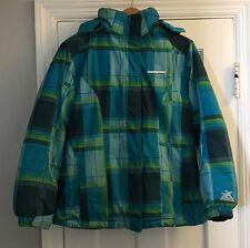 Zero Xposur Jrs Size XL 16 Snow Boarding Blue Green Plaid Jacket Coat Hood