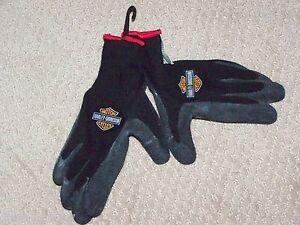 New HARLEY DAVIDSON Motorcycles Black Knit Rubber Palms Riding Yard Work Gloves
