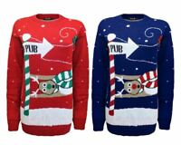 New New Ladies Gents knitted To the Pub Christmas Xmas Jumper Top Sweater 8-30