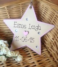 Personalised Wooden Star Plaque New Baby Girl Boy Birth Christening Gift Sign