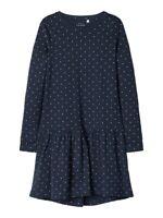 NAME IT langarm Kleid NKFVeta dunkelblau Jersey Punkte Größe 128 bis 164