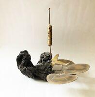 Vintage 1960's 1970's Mid Century Modern Brass Cat tail burl wood sculpture
