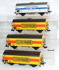 """4x Fleischmann ged. Güterwagen: Transthermos Ichs 377 und """"Fleischmann"""" H0"""
