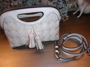 Patricia Nash Leather Braided Stitch Large Clutch White Sanza  NWOT