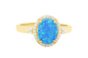 Simulated Opal & Simulated Diamond Anniversary Ring 14k Yellow Gold Over Silver