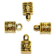 ML5209 Antiqued Gold 16mm Cord End Cap with Loop 6.5mm Inside Diameter 20pc