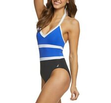 NEW Nautica Color Block Halter One Piece Swimsuit Blue White Size Large Orig $98