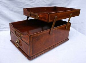 French Filing Cabinet Marquetry Wood Desk Top Slide Tray Locker Drawer