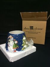 Home Interiors Ceramic Candle Jar Topper Shade Snowman Christmas Themed #54029