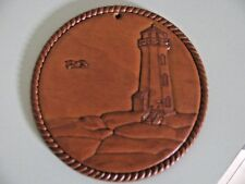 """Vintage Hand Carved Wood Lighthouse Placque - 6"""" Diameter"""