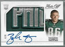 2013 National Treasures Hats Off Zach Ertz On Card Auto 3 Color Logo Patch Rc /6