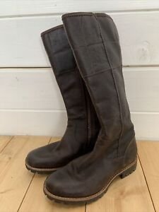 Timberland Boots Women's size 3.5 UK 36 EU tall boots Brown Leather