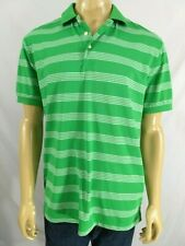 Chaps 78 Stay Dry Gold Polo Shirt Mens M Ss Green White Striped Ss Athletic Poly