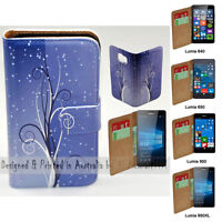 For Nokia Series - Blue Swirl Theme Print Wallet Mobile Phone Case Cover
