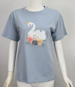 Womens Girls Blue Flower Swan Pearls Embroidered T Shirt Pullover Logo Top