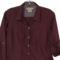Exofficio Long Sleeve Button Up Shirt Outdoor Hiking Vented Maroon Womens Medium