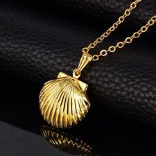 18K Gold Small Shell Photo Locket Pendant Chain Necklace *UK*